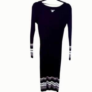 Bar III Black and White Knitted Sweater Dress